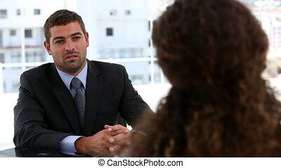 entrevue, gens, après, business