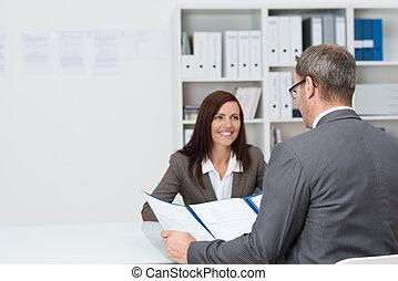entrevue, homme affaires, conduite, emploi