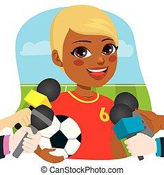 entrevue, joueur, football, femme, journalistes