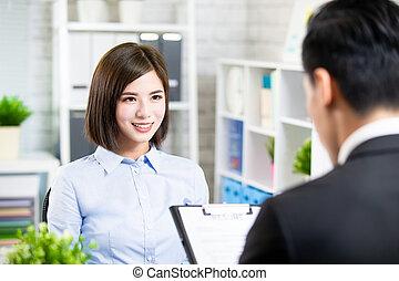 entrevue, métier, femme, asiatique