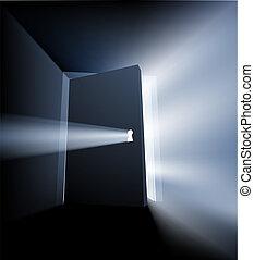 entrouvert, lumière, concept, porte, faisceau