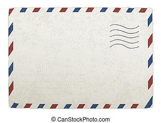 envelope., 10., vendange, conceptions, eps, vecteur, gabarit, publipostage, ton