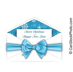 enveloppe bleue, salutation, arc, carte, joyeux noël, ruban