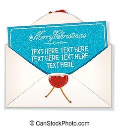 enveloppe, carte, joyeux noël