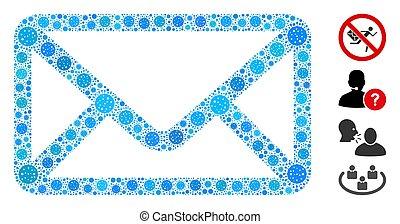 enveloppe, collage, éléments, coronavirus
