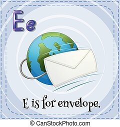 enveloppe, e, lettre, flashcard