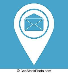 enveloppe, signe, emplacement, marqueur, blanc, icône