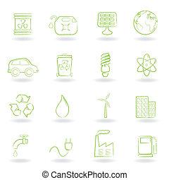 environnement, écologie, icônes