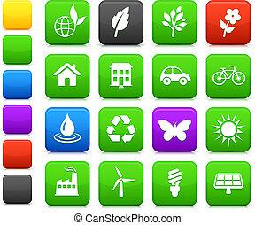 environnement, éléments, ensemble, icône
