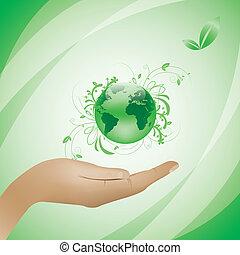 environnement, concept, arrière-plan vert