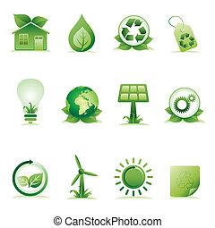 environnement, ensemble, icône