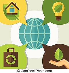 environnement, infographic, écologie, icons.