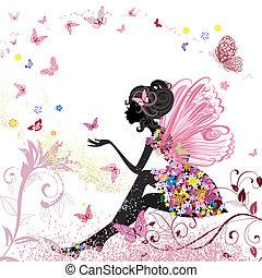 environnement, papillons, fleur, fée