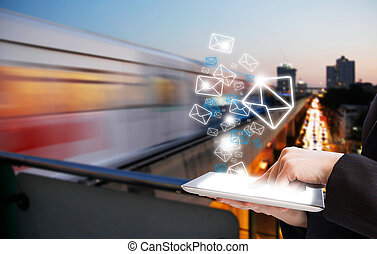 envoi, business, email, femme, commercialisation