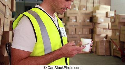envoi, entrepôt, ouvrier, texte