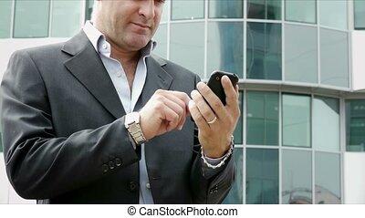envoi, homme, email, téléphone