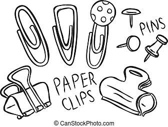 epingles, clips, papier