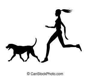 .eps, girl, chien