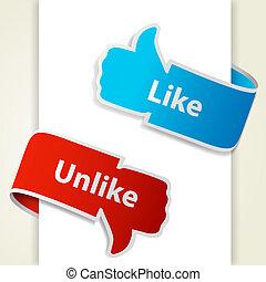 eps10, aimer, unlike, blogs, haut, illustration, bas, vecteur, icons., signes, pouce, websites.
