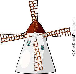 eps10, dessin animé, illustration, windmill.