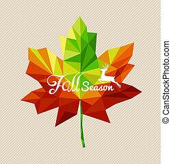 eps10, fichier, coloré, saison, sur, leaf., cerf, vecteur, texte, transparence, automne, facile, géométrique, édition