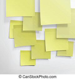 eps10, notes., résumé, jaune, collant, fond, vecteur