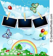 eps10, papillons, photo, printemps, illustration, vecteur, frames., paysage