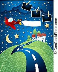 eps10, photo, vallonné, avion, route, illustration, vecteur, nuit, frames., paysage