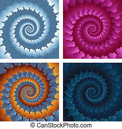 eps10, résumé, spirale, vecteur, fond, set.