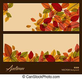 eps10, saison, leaves., transparent, automne, arrière-plan., automne, file.
