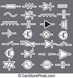 eps10, symboles, ingénierie, électrique, schématique, autocollants