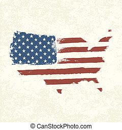 eps10, usa, flag., map., américain, forme, vecteur