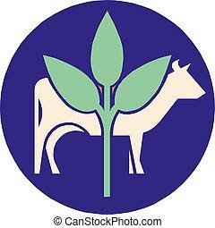 eps10, vache, ferme, pousse, illustration, vecteur