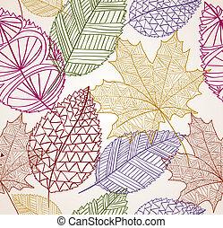 eps10, vendange, feuilles, seamless, automne, arrière-plan., modèle, file.