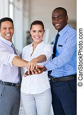 equipe affaires, ensemble, leur, mettre, mains