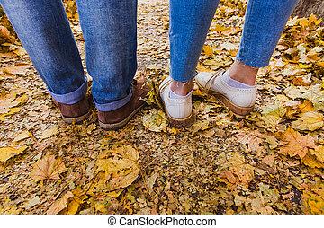 equipements, automne, nature, homme, couple, fond, femme, pieds, extérieur, style de vie, debout, branché