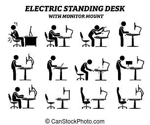 ergonomique, moniteur, électrique, debout, mont., bureau, table