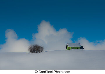 ermitage, neige, isolé