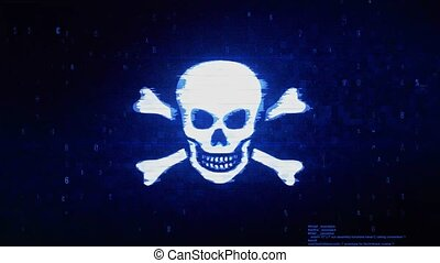 erreur, numérique, pixel, bruit, os croisés, symbole, animation., crâne
