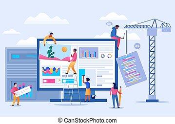 erreur, professionnel, ui, sous, équipe, entretien, page, construction, atterrissage, projet, concept, application, vecteur, 404, page., mobile, fonctionnement, illustration., teamwork.