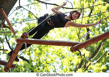 escalade, parc, aventure, corde