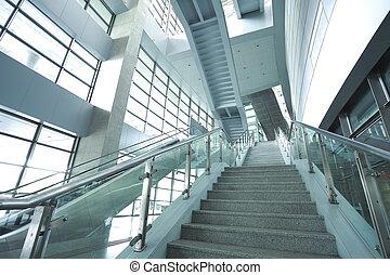 escalator, business, moderne, étapes, architecture, en mouvement, escalier