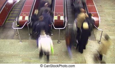 escalator., supérieur, lapse., foule, mouvement, blur., temps, vue.