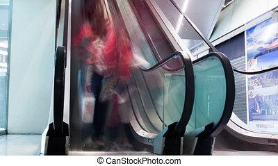 escalators, paire, bâtiment