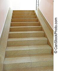 escalier, carrelé, vide, plancher