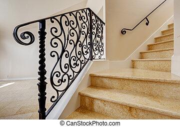 escalier, forgé, noir, fer, balustrade, marbre