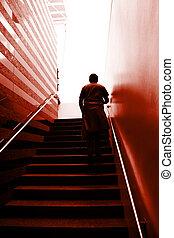 escalier, homme
