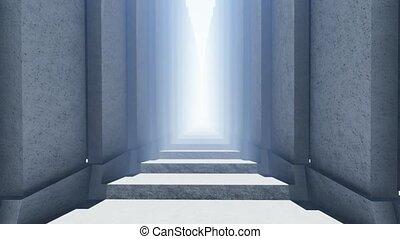 escalier, long, ciel, -, promenade, light.