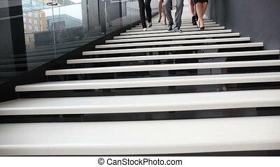 escalier, marche, groupe, professionnels
