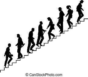 escalier, marcheurs